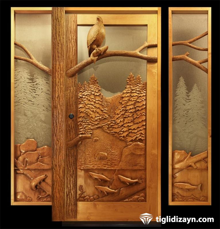 İşlemeli ahşap kapı modelleri