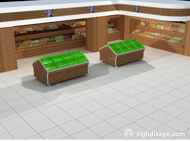 3d ahşap market manav dizaynı