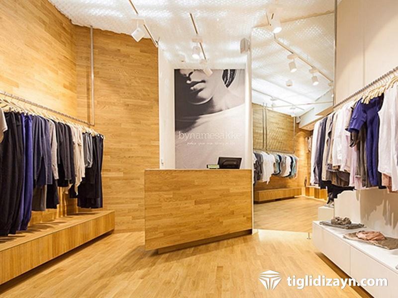 Ahşap giyim mağazası dizaynı