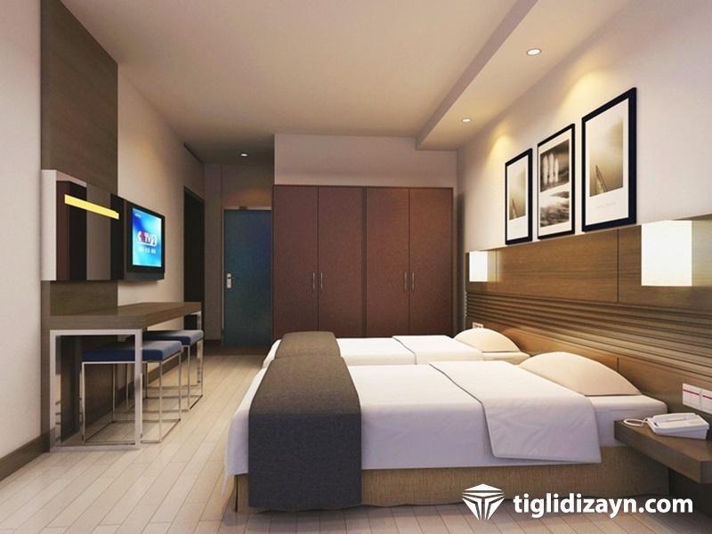 Doğal bir otel için ahşap yatak odaları