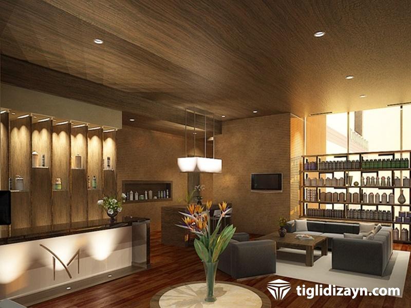 Otel ahşap resepsiyon dizayn resimleri