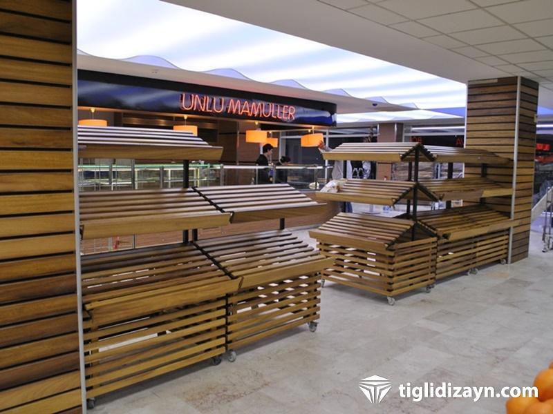 ahşap market rafları - Market iç dizaynı için örnekler