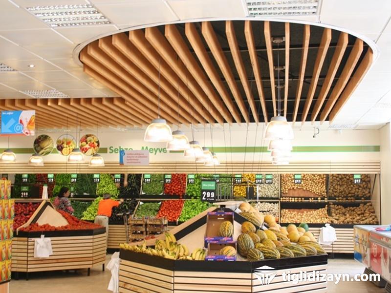Market içi komple dizayn için örnek çalışmalar